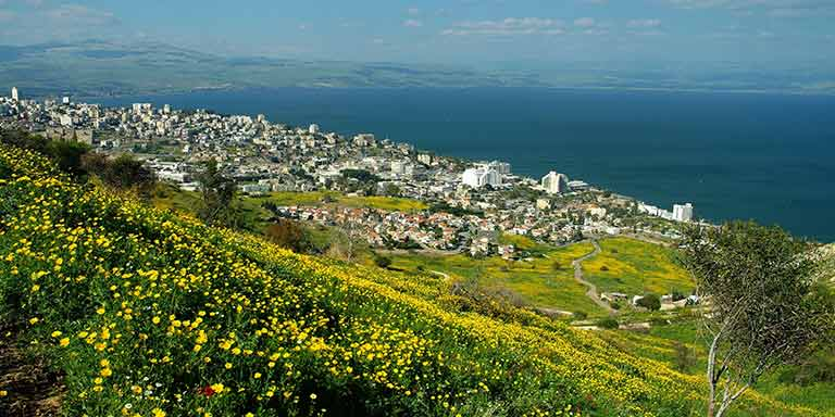 view of the sea in Tiberias, Israel